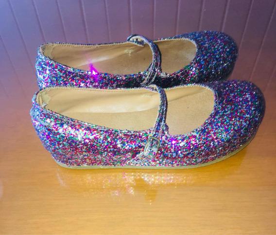 Divinos Zapatos De Glitter Multicolor Con Taco Chino!