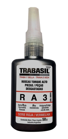 Adhesivo Trabasil Ra3 Rosca Torque Alto 50g Anaeróbico Roja