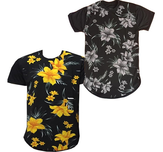 Kit 2 Camiseta Camisa Masculina Long Line Floral Estampada