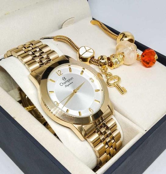 Relógio Banhado A Ouro Champion Cn25314s + Pulseira Berlock