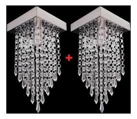 Kit 2 Lustre Pendente Cristal Acrílico Pequeno 16x16x26