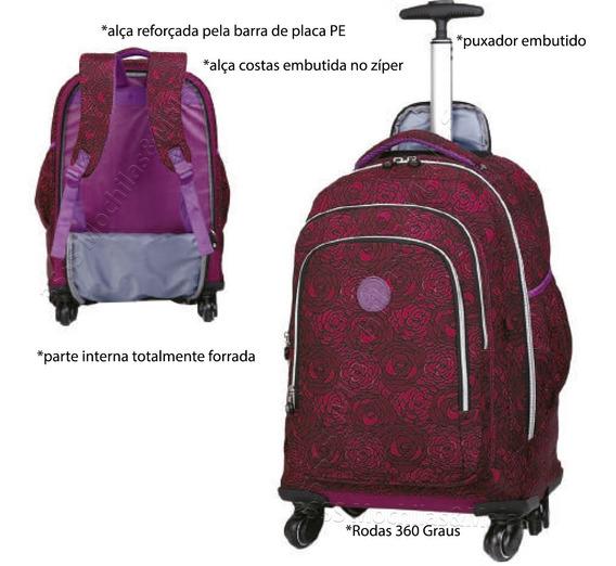 Mochila Carrinho Rodas 360º Bolsa Juveni Viagem Escolar Tm33