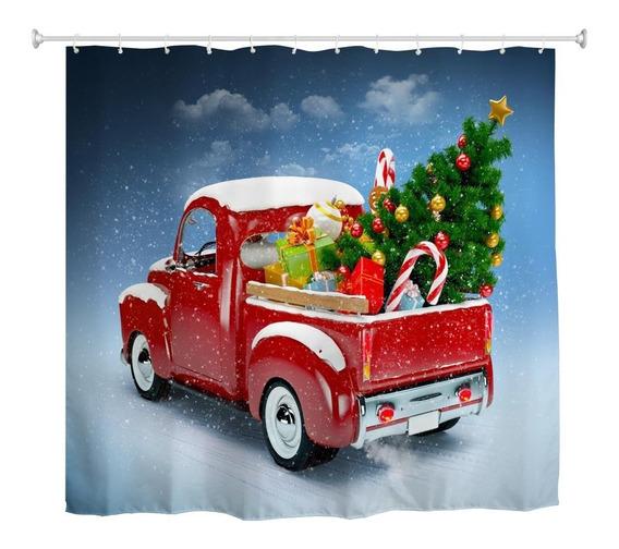 Camión Árbol De Navidad 3d Tela De Impresión Digital Imperme