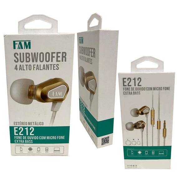 Fone De Ouvido E212 Microfone Extra Bass Fam 4 Alto Falante
