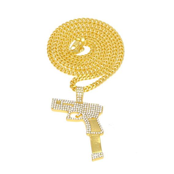 Colar Pistola Cordão Ouro Com Brilhantes Grande Frete Grátis