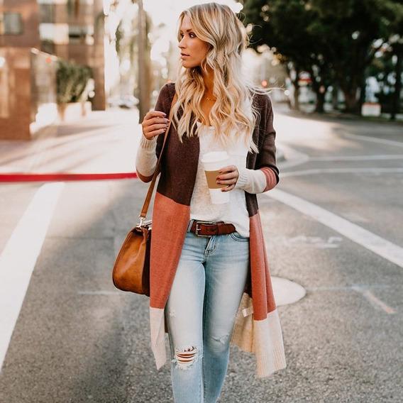 Suéter Tipo Cárdigan De Punto De Manga Larga Para Mujer