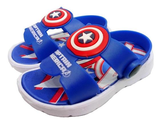 Sandalias De Goma Capitan America Marvel Super Livianas