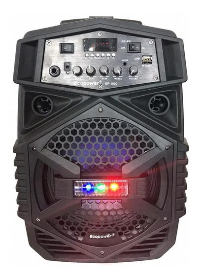 Caixa Som Ecopower Bluetooth Microfone Sem Fio Potente