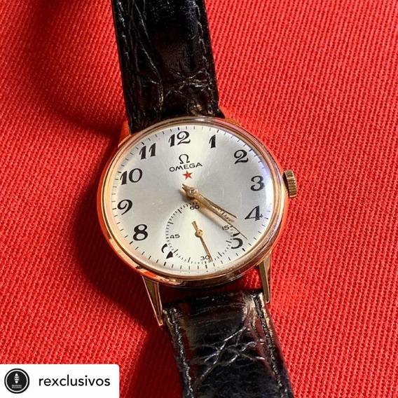 Relógio Omega Estrela Vermelha Ouro Rosé 18k Maciço