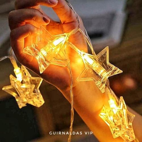Guirnalda Estrellas Led A Pilas Luz Cálida