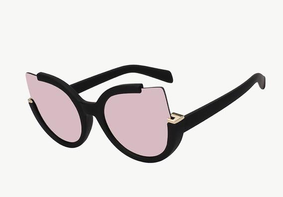 Óculos Espelhado Feminino Olho De Gato Gatinho Redondo