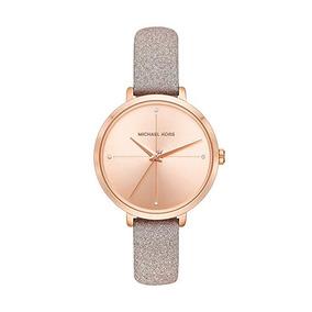 Relógio Michael Kors Festa Charley Rose Gold Couro Mk2794