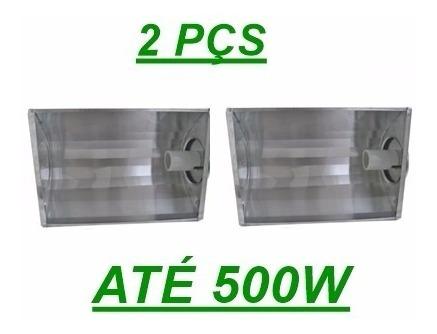 Kit 2 Pçs Refletor Projetor P/ Lampadas Ate 500w