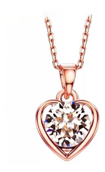 Precioso Collar Corazón Swarovski Oro Rosa 14k Lam + Estuche
