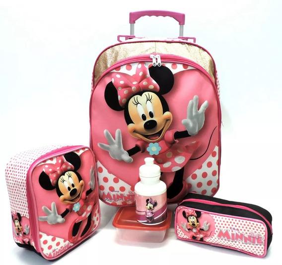 Kit Mochila Infantil Escolar Minnie Mouse Lisa Brilhos Glitter Rosa Tam G Rodinhas F5