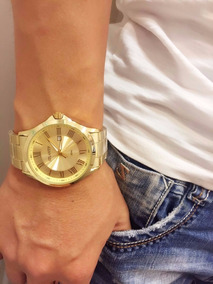 Relógio Atlantis Marca Original Dourado Preto Aço Homem Soc