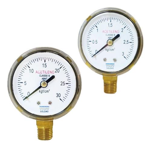 Manometro Para Acetileno Baixa 0-30kgf + Manômetro 0-3kgf
