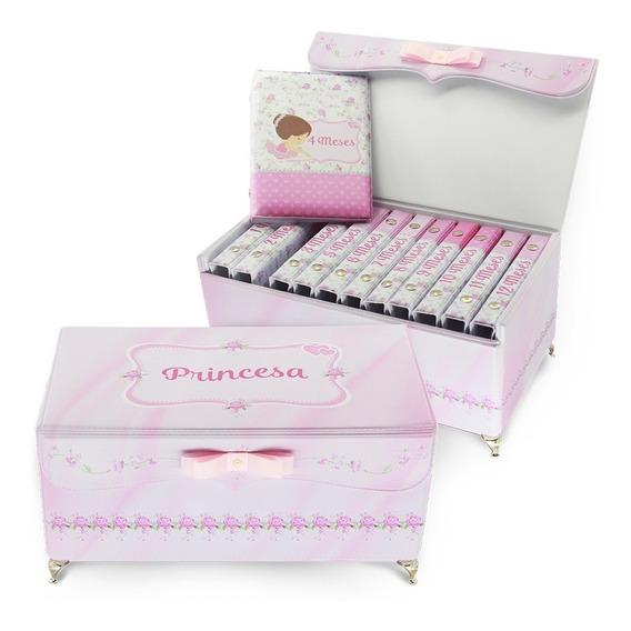 Box Acompanhamento Mensal Bebê - Mesversário Princesa - Rosa