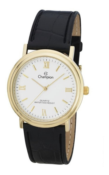 Relógio Feminino Dourado Champion Pulseira Couro Preto +nf