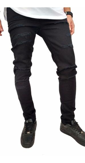 Calça Jeans Sarja Branca Rasgada Slim Masculina Empório M1