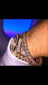 Pulsera Rap Oro Laminado Con Diamantes