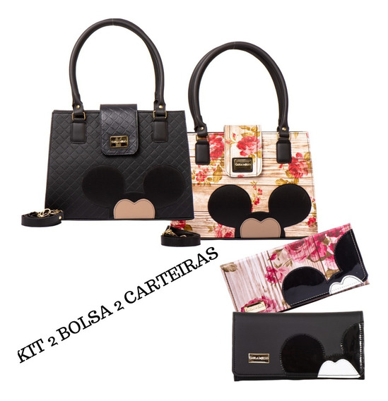 Kit Com 2 Bolsas Femininas Magic Mickey Com Carteira