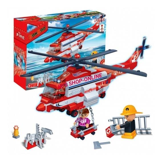 Lego Banbao Helicoptero De Rescate 272 Pzas Juguete Armable