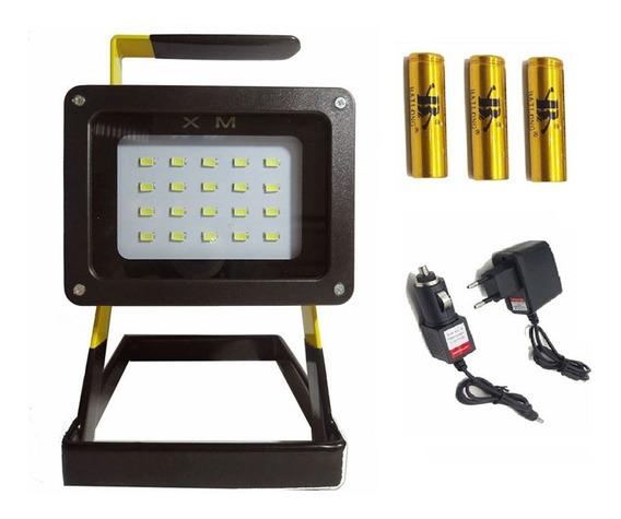 Refletor Led Recarregável30w Holofote Bateria Portátil