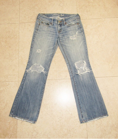 Jeans Super Rasgados T/ch American Eagle Corte Cadera