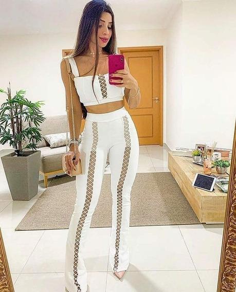 Conjunto Calça E Cropped Pantalona Flare Lançamento Detalhes