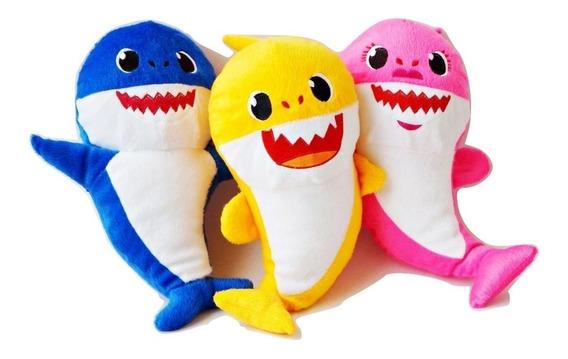 Pelucia Baby Shark 3 Unidades Kit Nao Musical