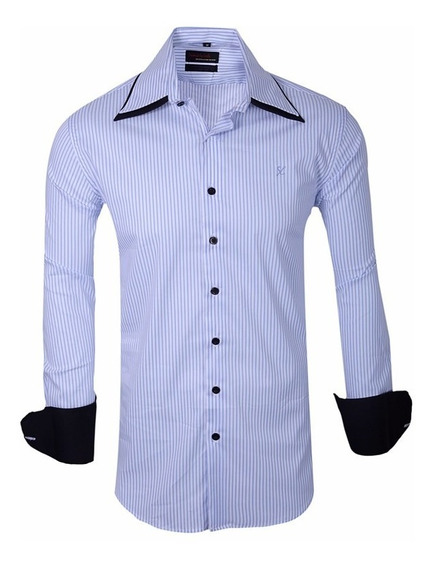Camisas Elastizadas A Rayas Slim Fit - Quality Import Usa