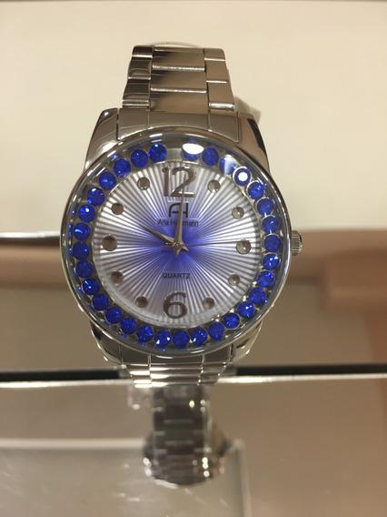 Relógio De Pulso Ana Hickmann Ah2887 Prata E Azul Feminino