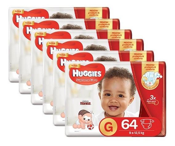 Kit De Fraldas Huggies Supreme Care Hiper Tam G - 384 Fralda
