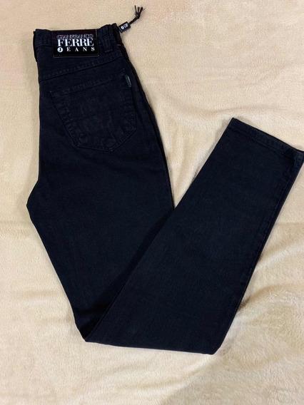 Pantalón Jeans Italiano Negro Talle 40 No Es Elastizado