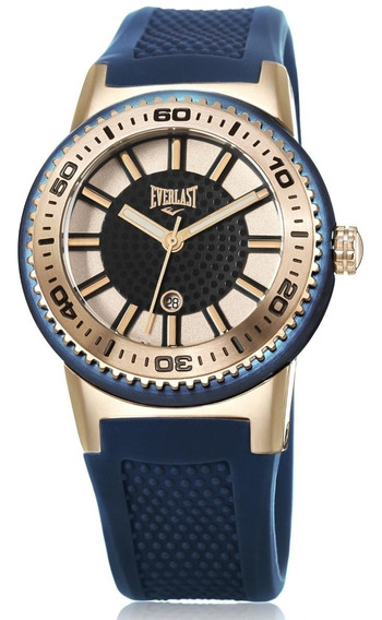 Relógio Pulso Everlast Feminino Aço Silicone Azul E456