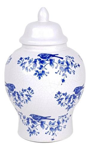 Vaso Branco E Azul | 17 Larg X 26 Alt X 17 Prof