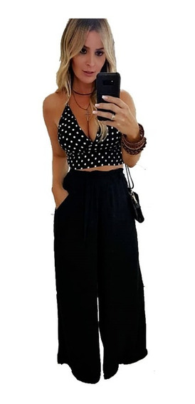 Pantalona Feminina Cós Alto Cinto Tecido Fino Elegante Festa