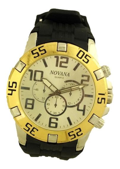 Relógio Masculino Potenzia Prateado Pulseira Borracha B5738