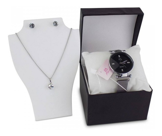 Kit Relógio Feminino Colar Brinco Pulseira Magnética - Rmm15