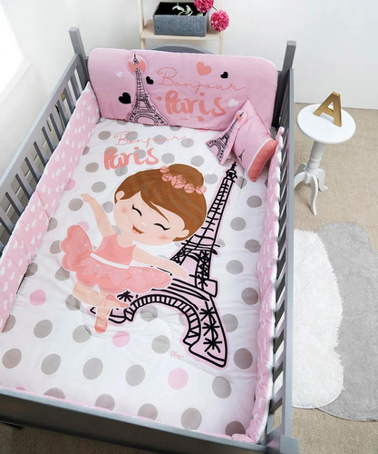 Set De Edredon Cama Cuna Corral Bebe Baby Paris Chiquimundo