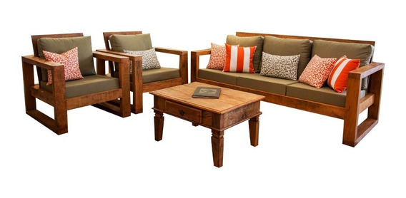 Sofá 3 Lugares+sofá 2 Lugares+2 Poltronas Madeira Peroba