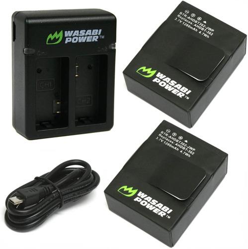 Imagen 1 de 5 de Cargador Dual Wasabi Incluye 2 Pilas Para Go Pro 3 Cable Usb