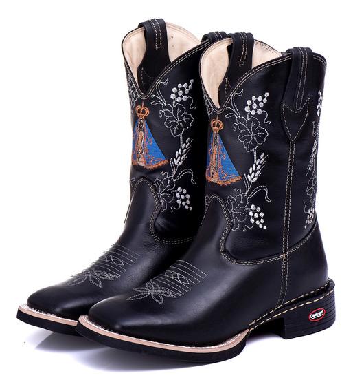Bota Country Feminina Nossa Senhora Texana Cano Longo Couro