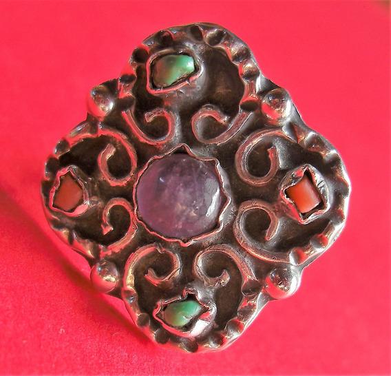 Anillo De Plata Con Piedras De Colores, Talla 6.5-7