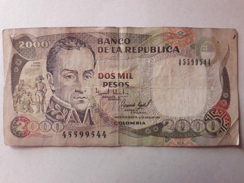 Imagen 1 de 2 de  Antiguo Billete De $2000