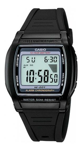 Reloj Casio Hombre W-201-1a W,r,50m Bateria De 10 Años Alarm