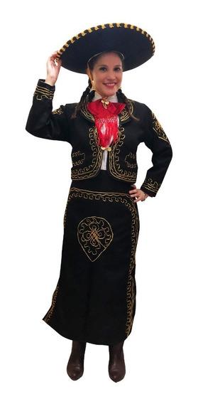 Traje De Mariachi Para Mujer O Charra Color Negro O Hueso