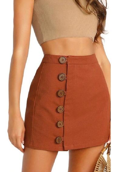 Mini Falda Casual Sexy Skirt With Zip Marron Naranja Estilo Coreano Botones Grandes Corta/ Envio Gratis