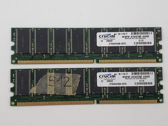 Memoria Ram Crucial 512mb Ddr 400mhz Pc 3200 Pc 2x256mb